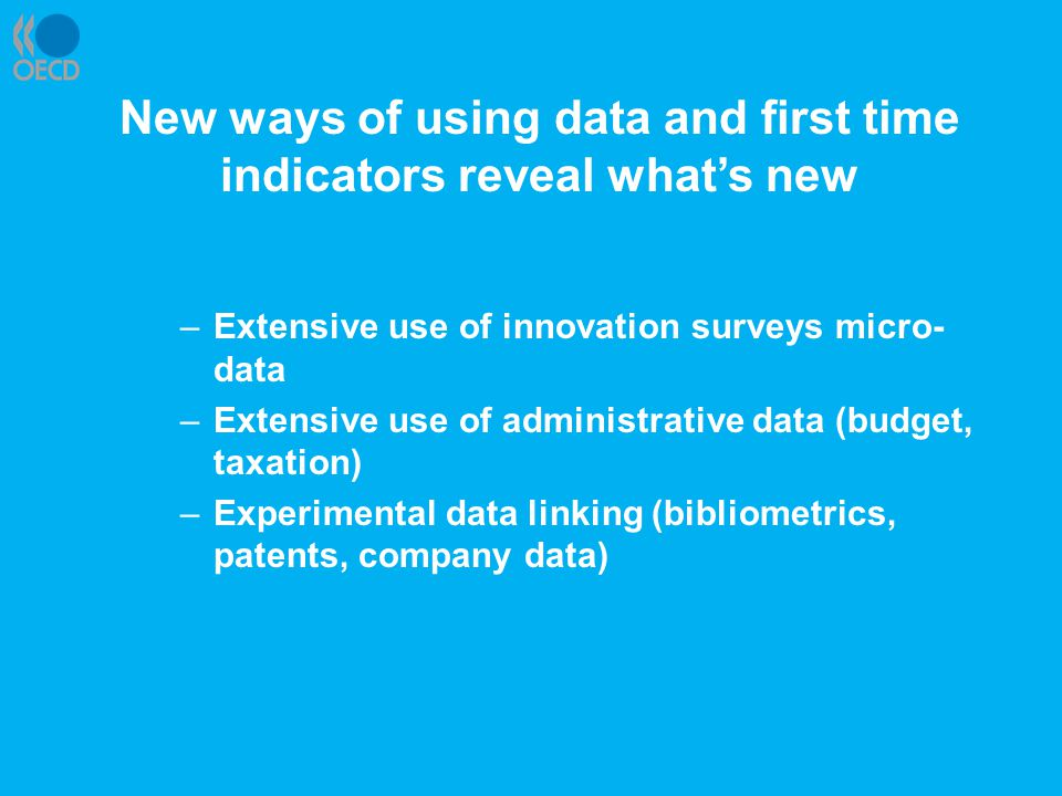 New ways of using data and first time indicators reveal what's new