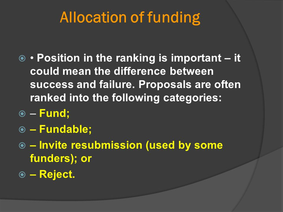 Allocation of funding