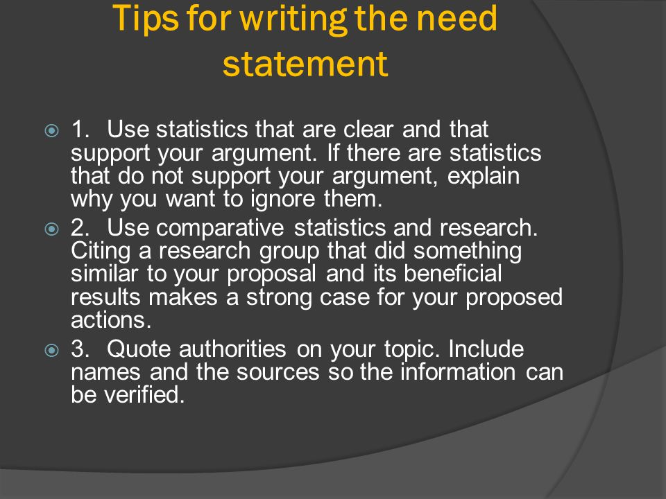 Tips for writing the need statement