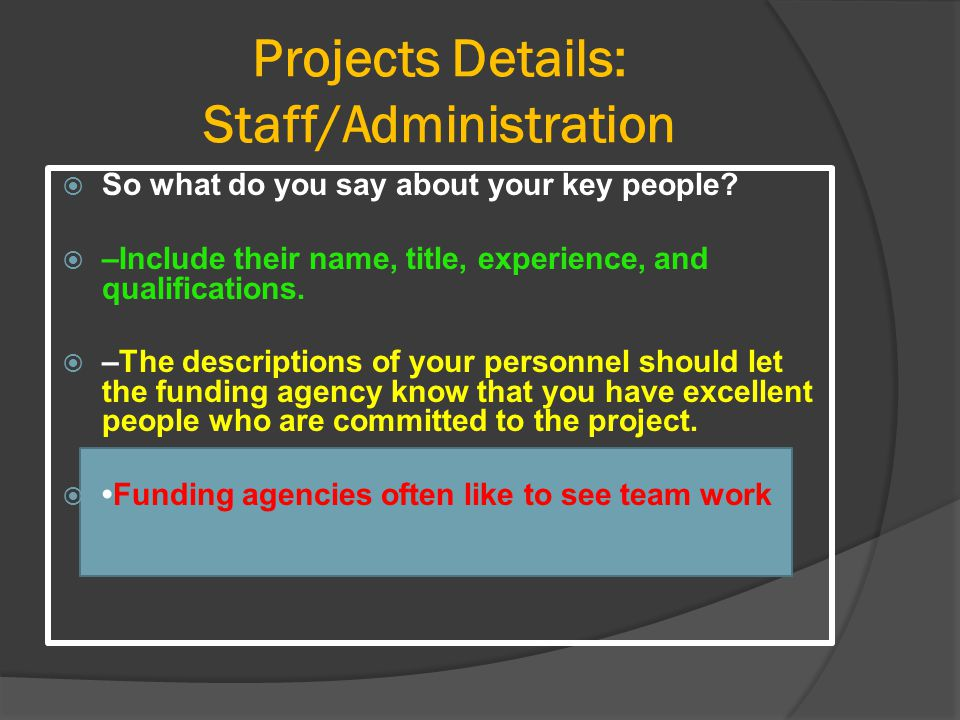 Projects Details: Staff/Administration