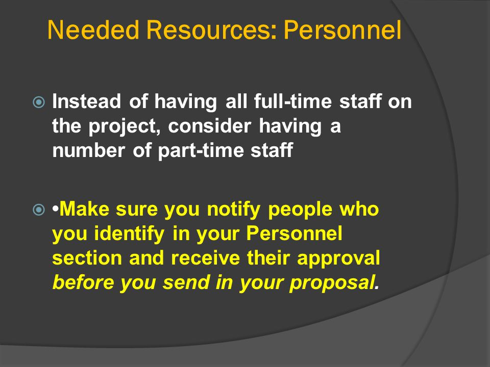 Needed Resources: Personnel