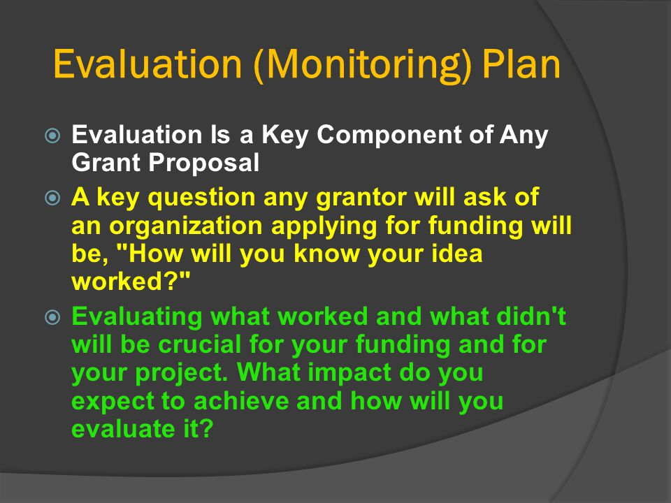 Evaluation (Monitoring) Plan