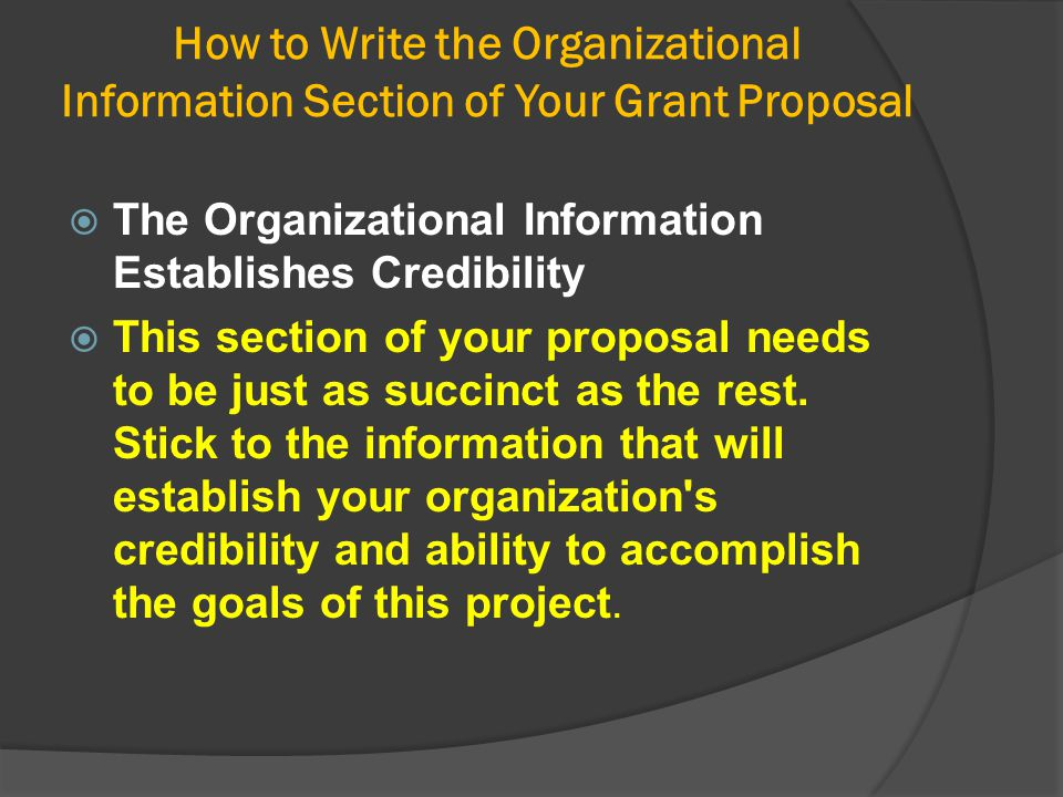 How to Write the Organizational Information Section of Your Grant Proposal