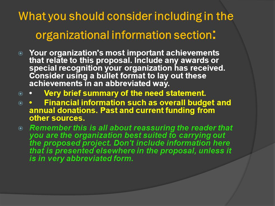 What you should consider including in the organizational information section: