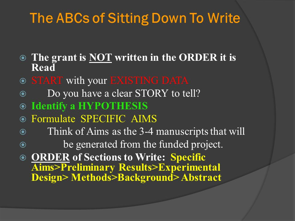 The ABCs of Sitting Down To Write