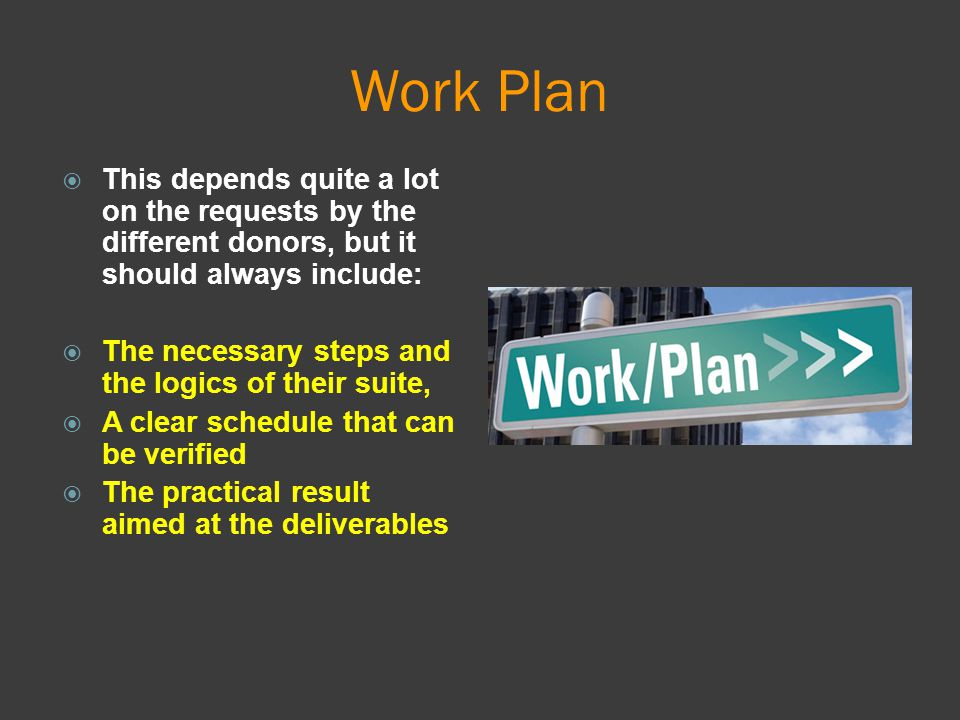 Work Plan This depends quite a lot on the requests by the different donors, but it should always include: