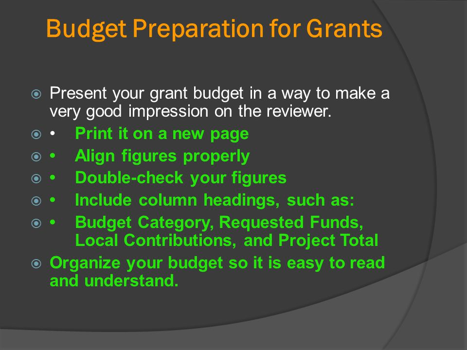 Budget Preparation for Grants