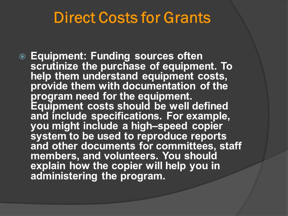 Direct Costs for Grants