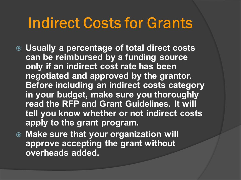 Indirect Costs for Grants
