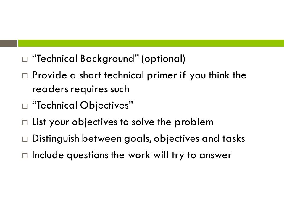 Technical Background (optional)