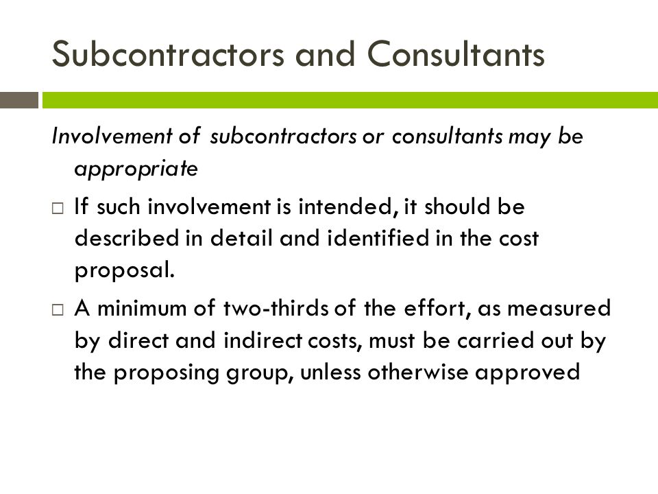 Subcontractors and Consultants