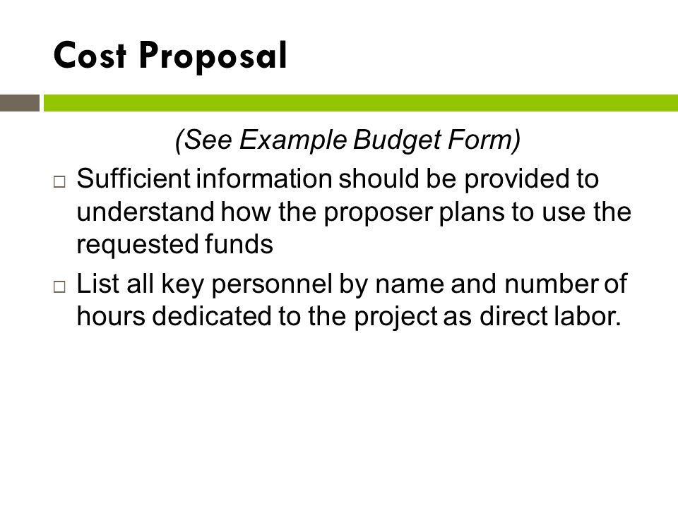 (See Example Budget Form)