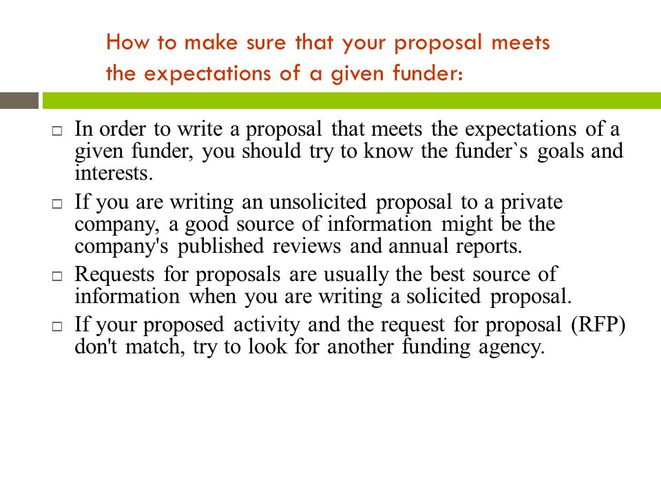 How to make sure that your proposal meets the expectations of a given funder: