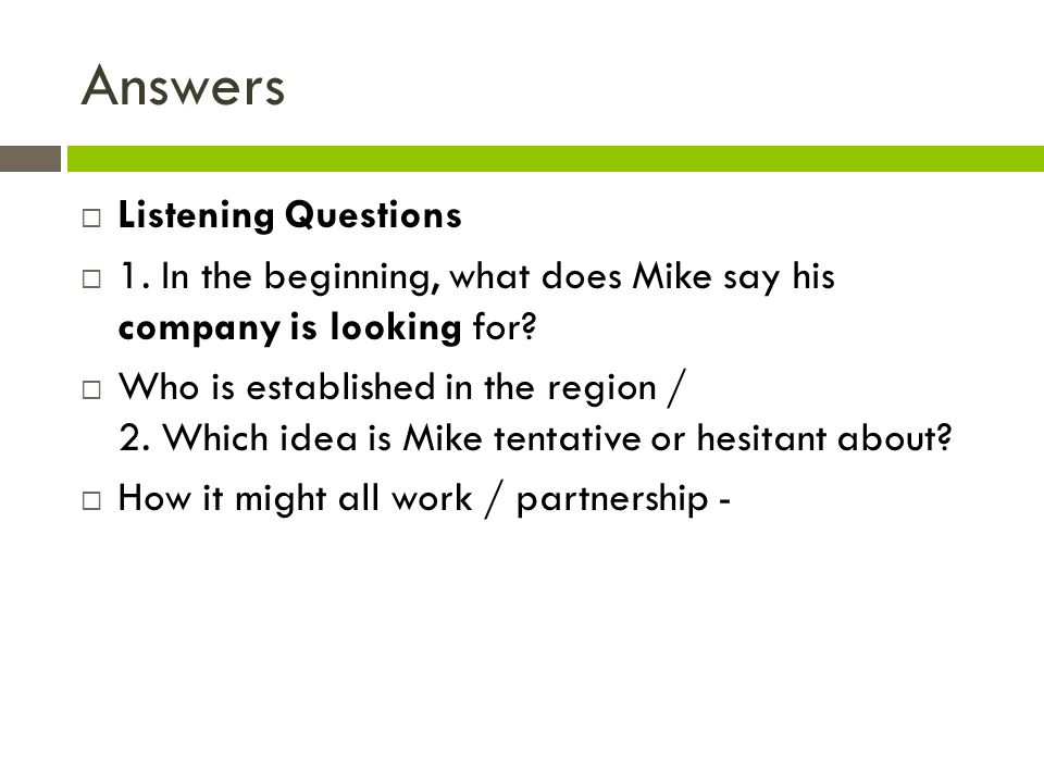 Answers Listening Questions