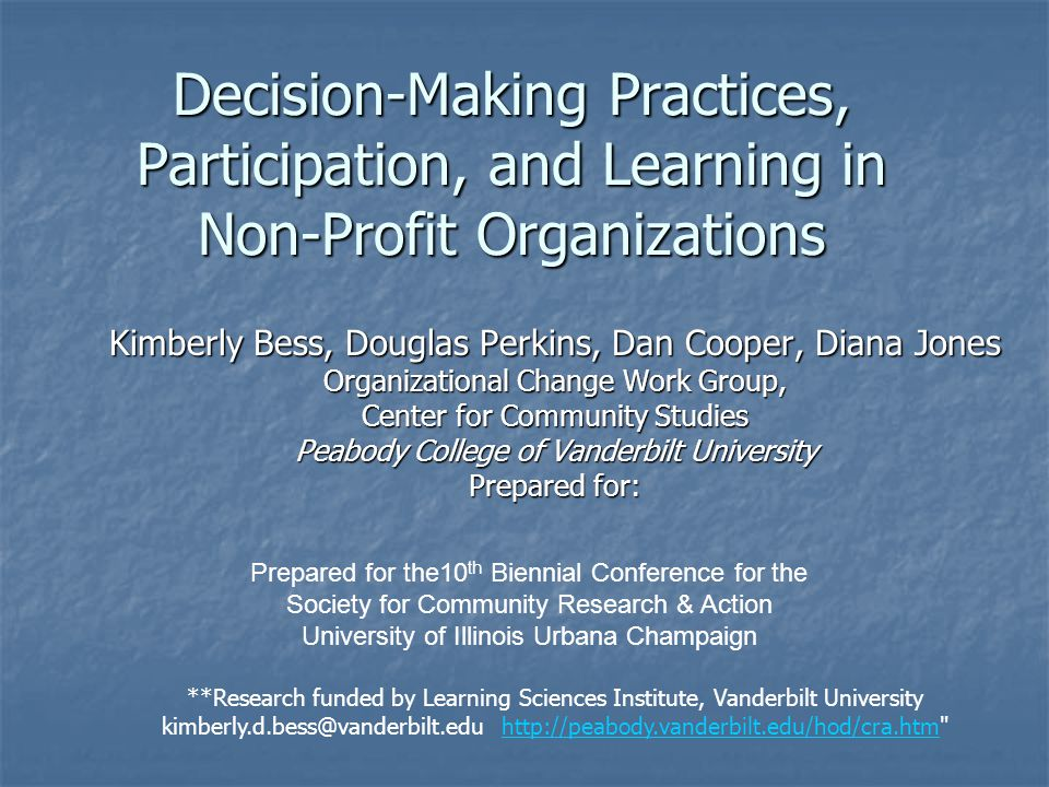 Decision-Making Practices, Participation, and Learning in Non-Profit Organizations