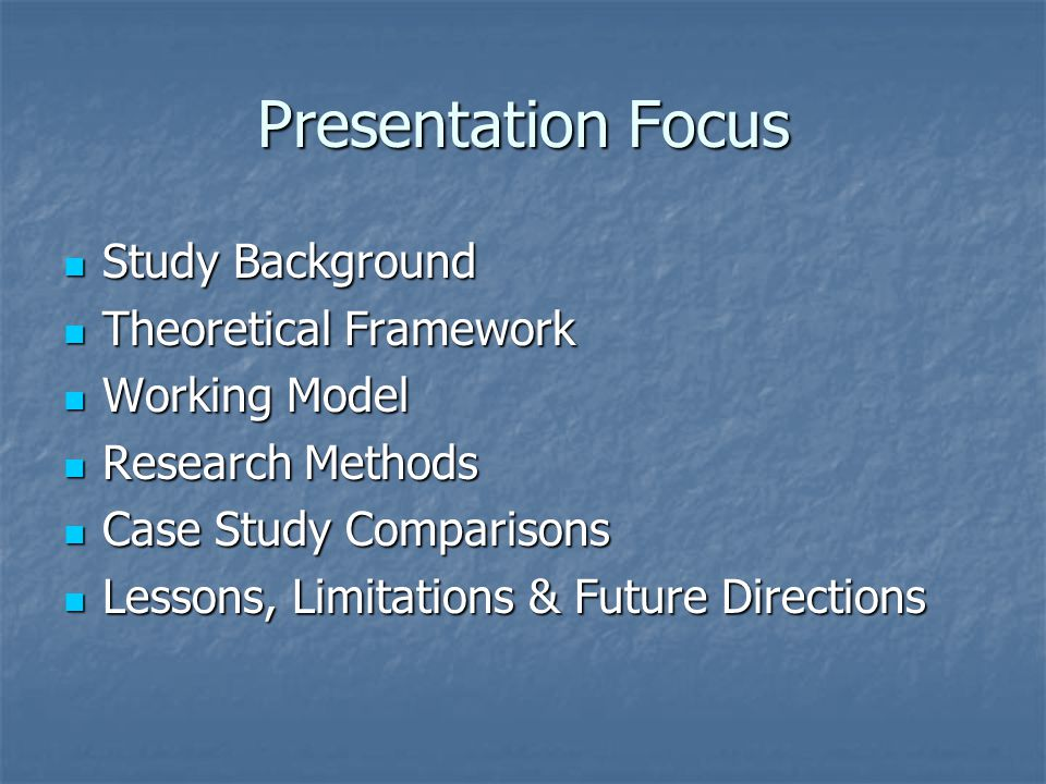 Presentation Focus Study Background Theoretical Framework