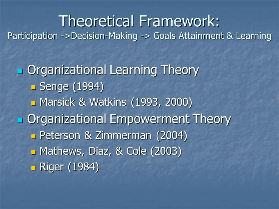 Theoretical Framework: Participation ->Decision-Making -> Goals Attainment & Learning
