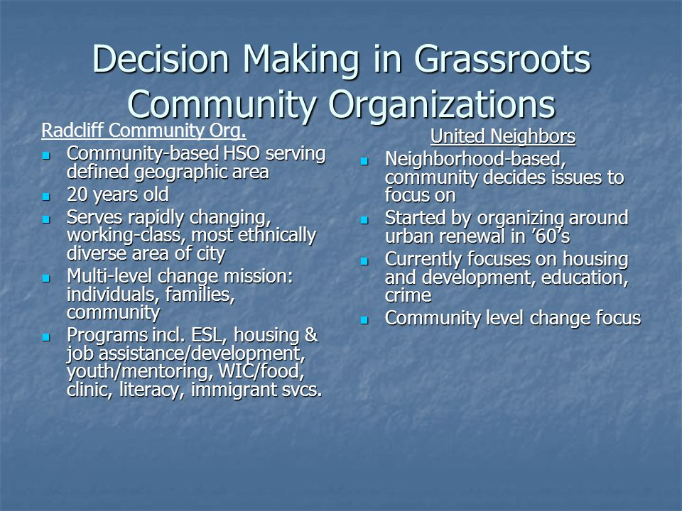 Decision Making in Grassroots Community Organizations