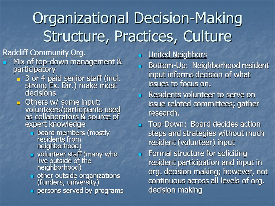 Organizational Decision-Making Structure, Practices, Culture