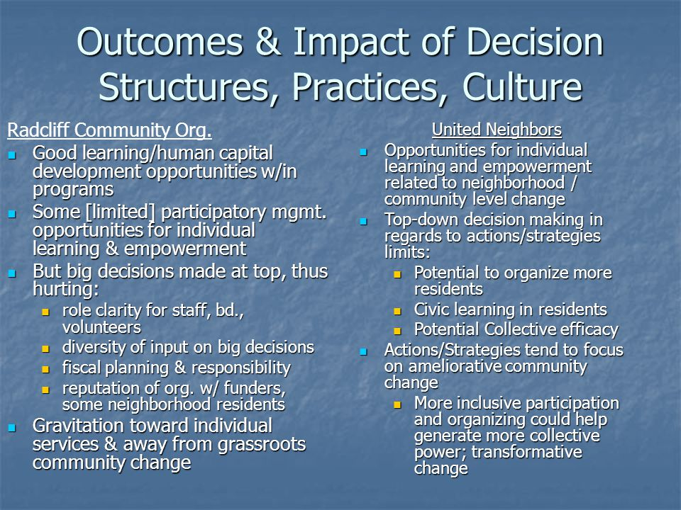 Outcomes & Impact of Decision Structures, Practices, Culture