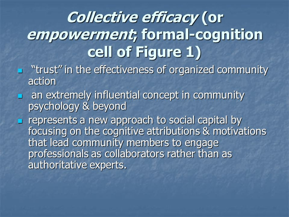 Collective efficacy (or empowerment; formal-cognition cell of Figure 1)
