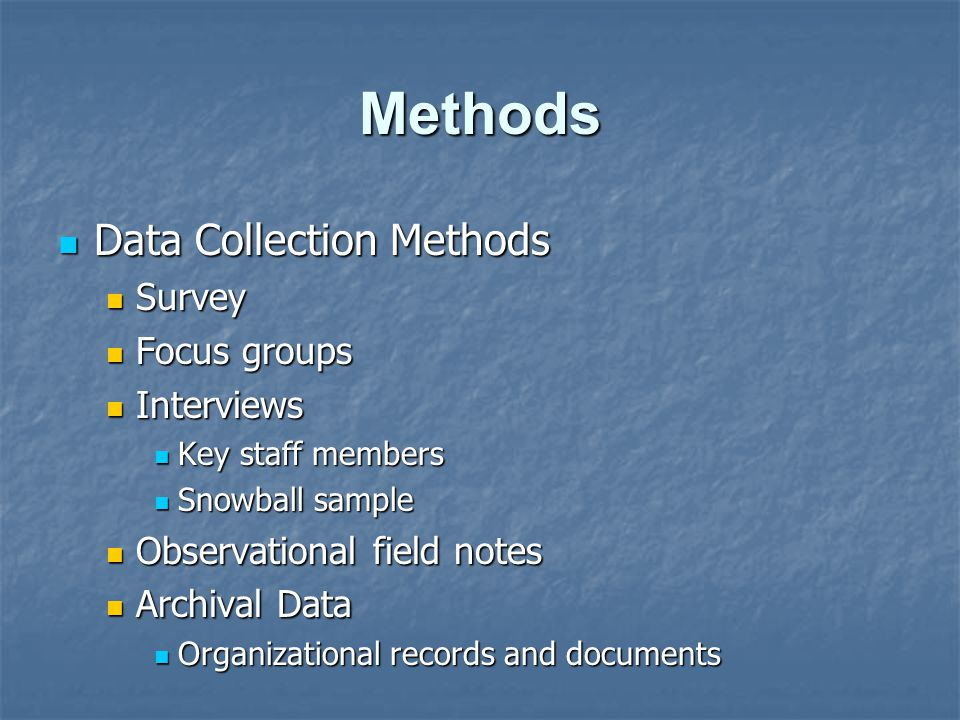 Methods Data Collection Methods Survey Focus groups Interviews