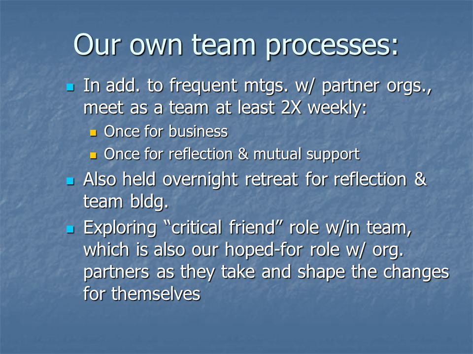 Our own team processes: