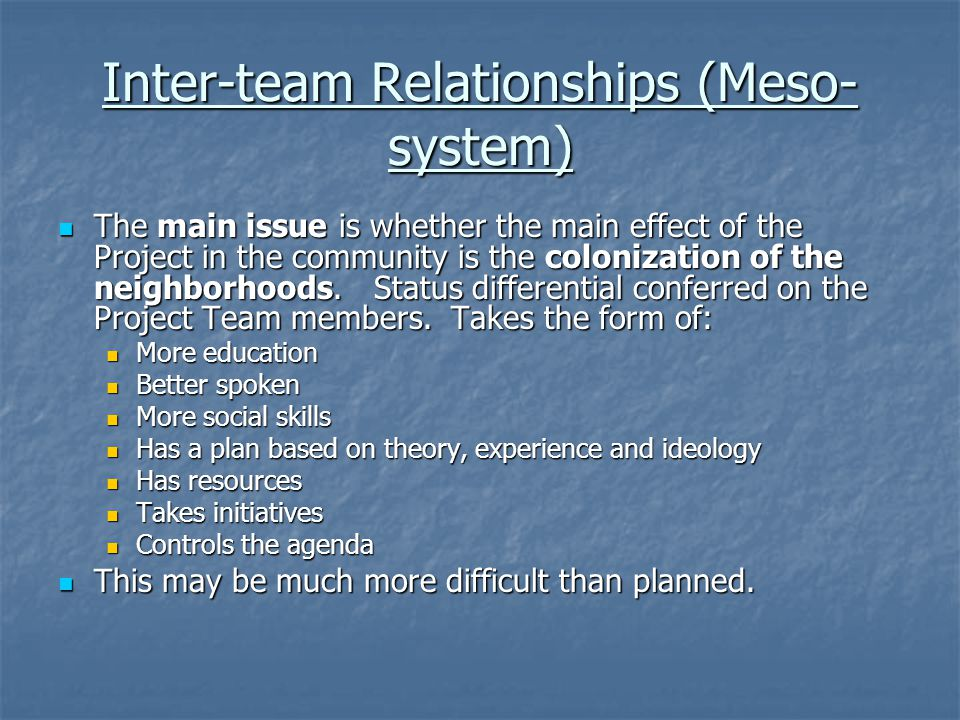 Inter-team Relationships (Meso-system)