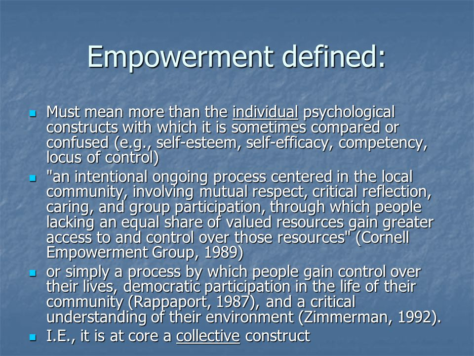 Empowerment defined: