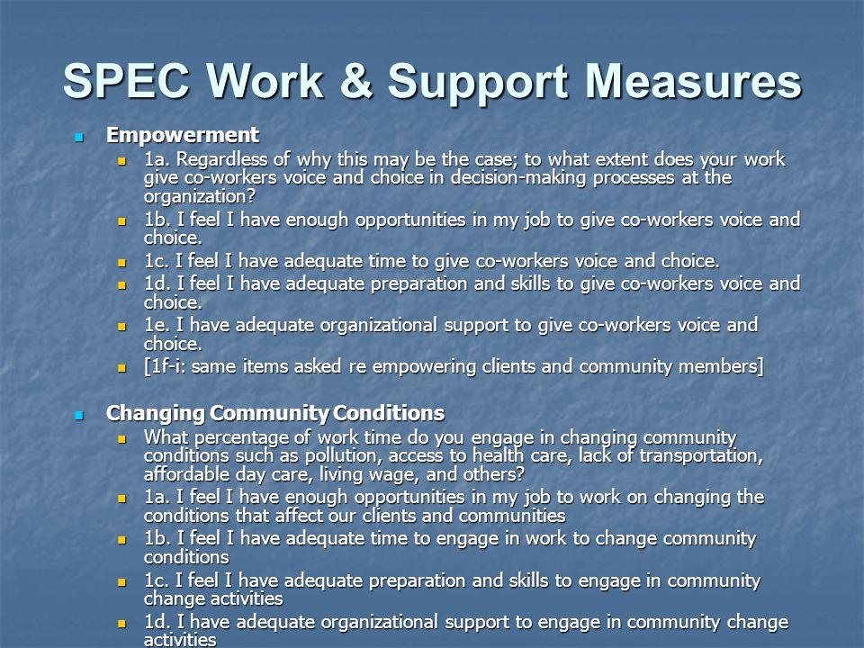 SPEC Work & Support Measures