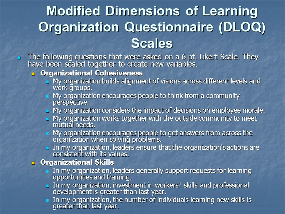 Modified Dimensions of Learning Organization Questionnaire (DLOQ) Scales
