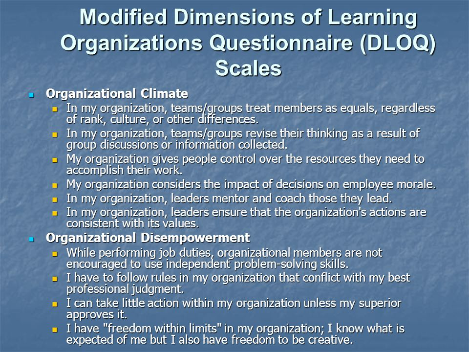 Modified Dimensions of Learning Organizations Questionnaire (DLOQ) Scales