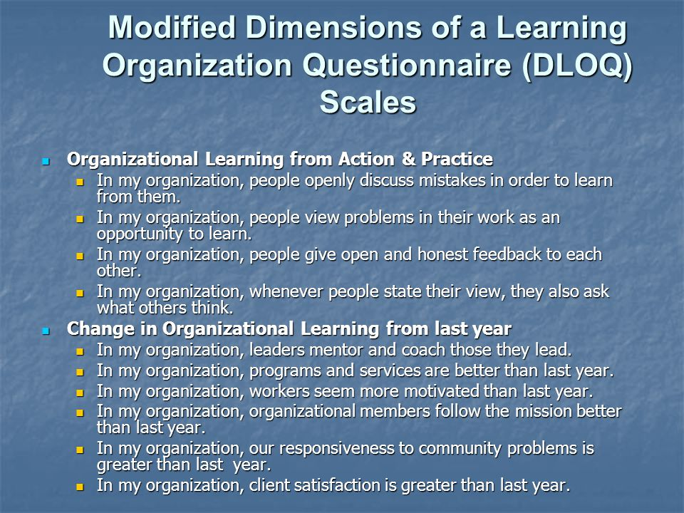 Modified Dimensions of a Learning Organization Questionnaire (DLOQ) Scales