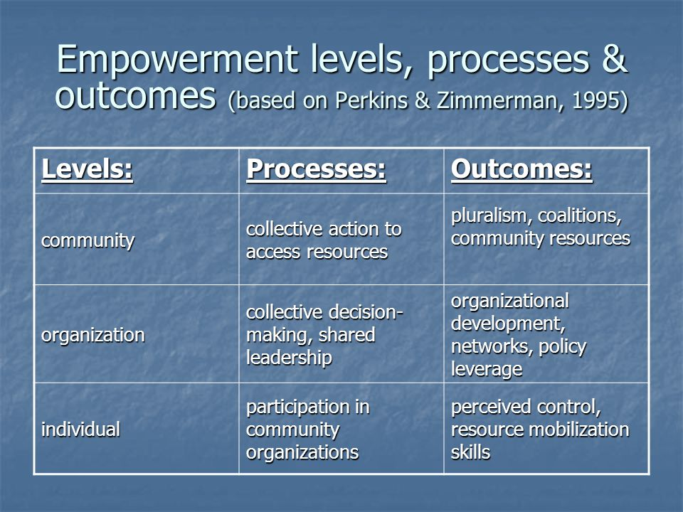 Empowerment levels, processes & outcomes (based on Perkins & Zimmerman, 1995)