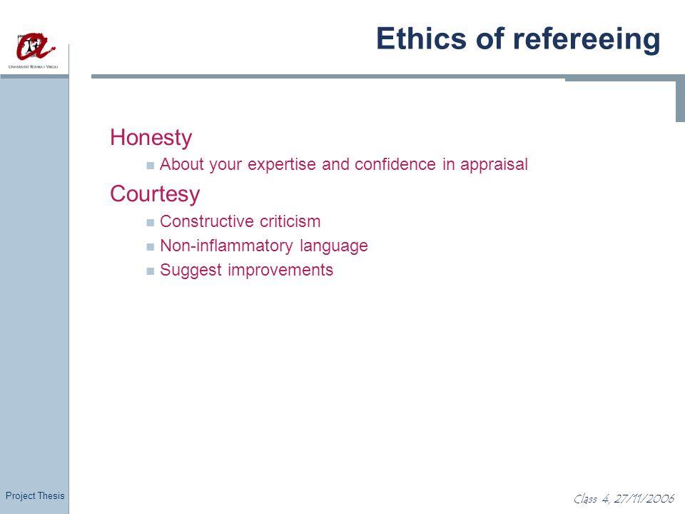 Ethics of refereeing Honesty Courtesy