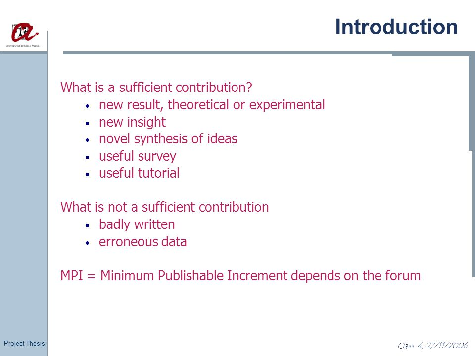 Introduction What is a sufficient contribution