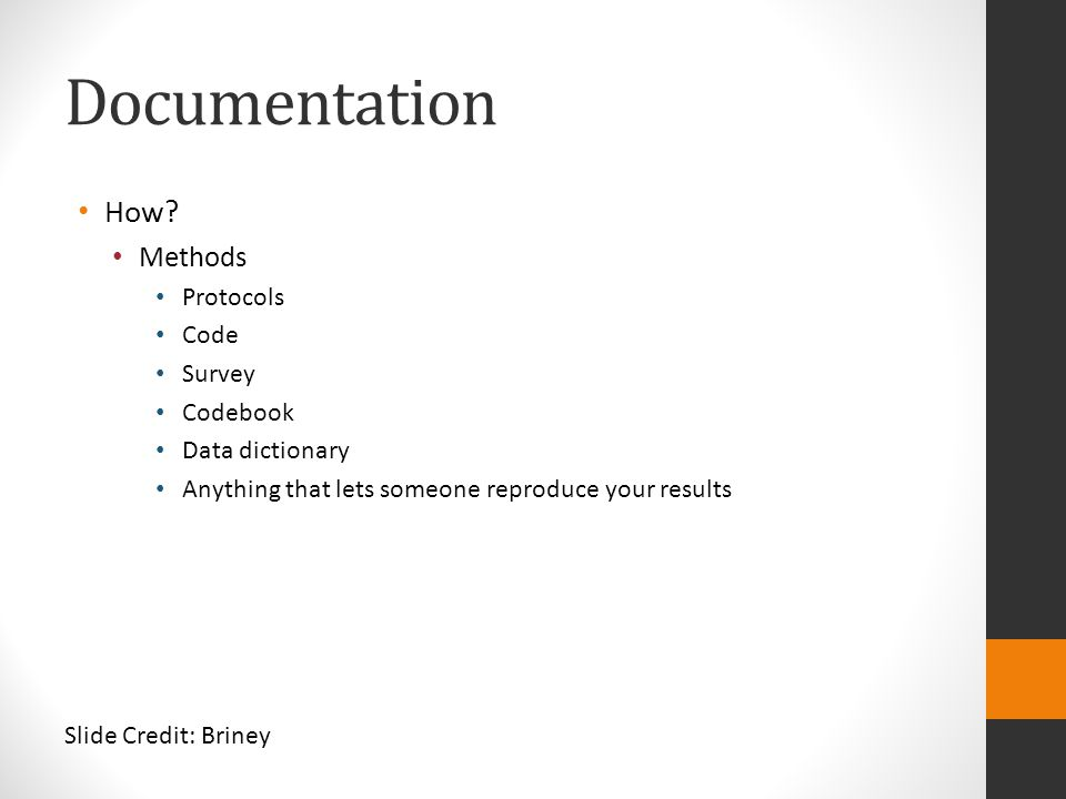 Documentation How Methods Protocols Code Survey Codebook