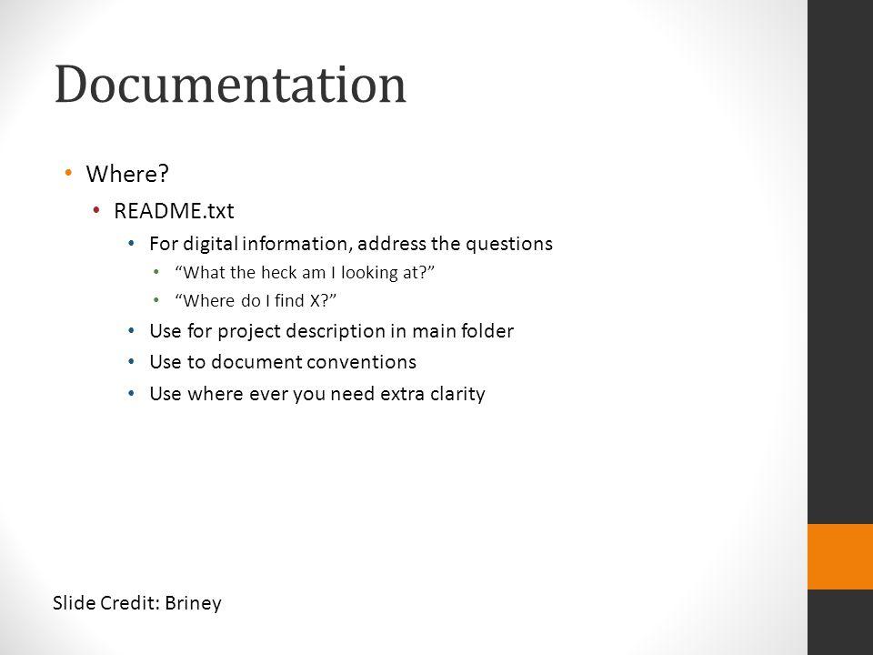 Documentation Where README.txt