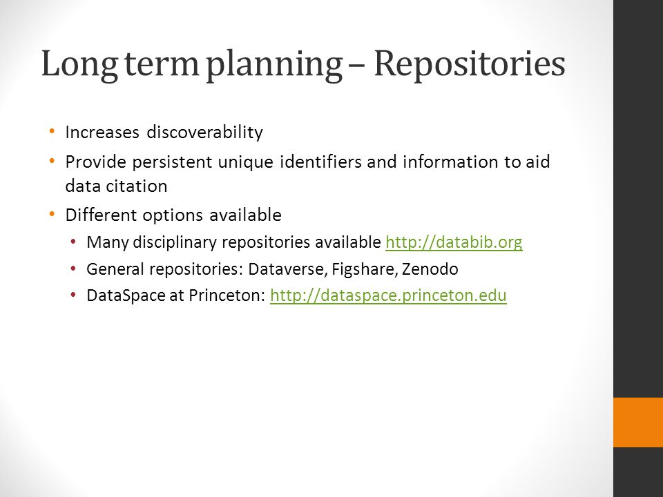 Long term planning – Repositories
