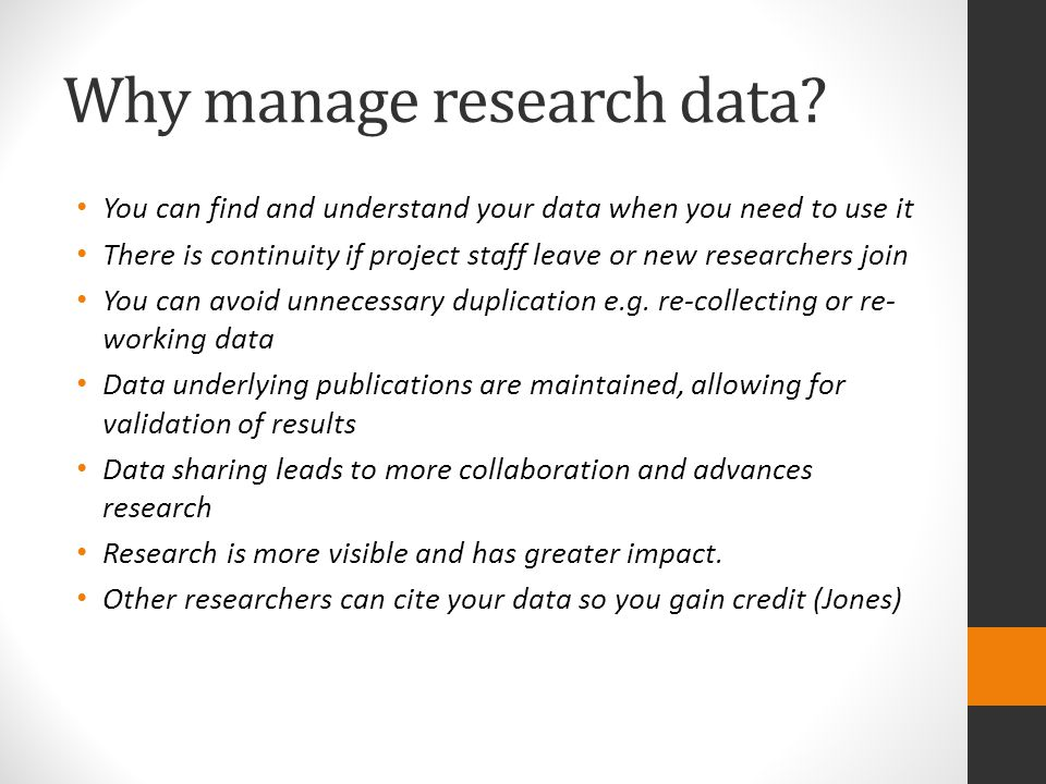 Why manage research data