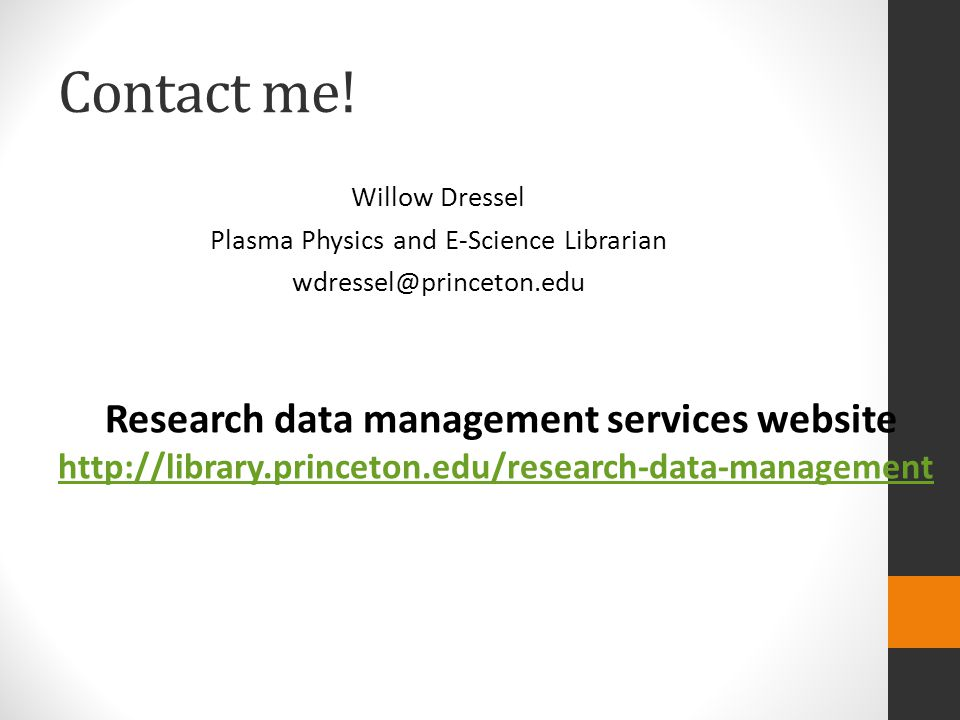 Research data management services website
