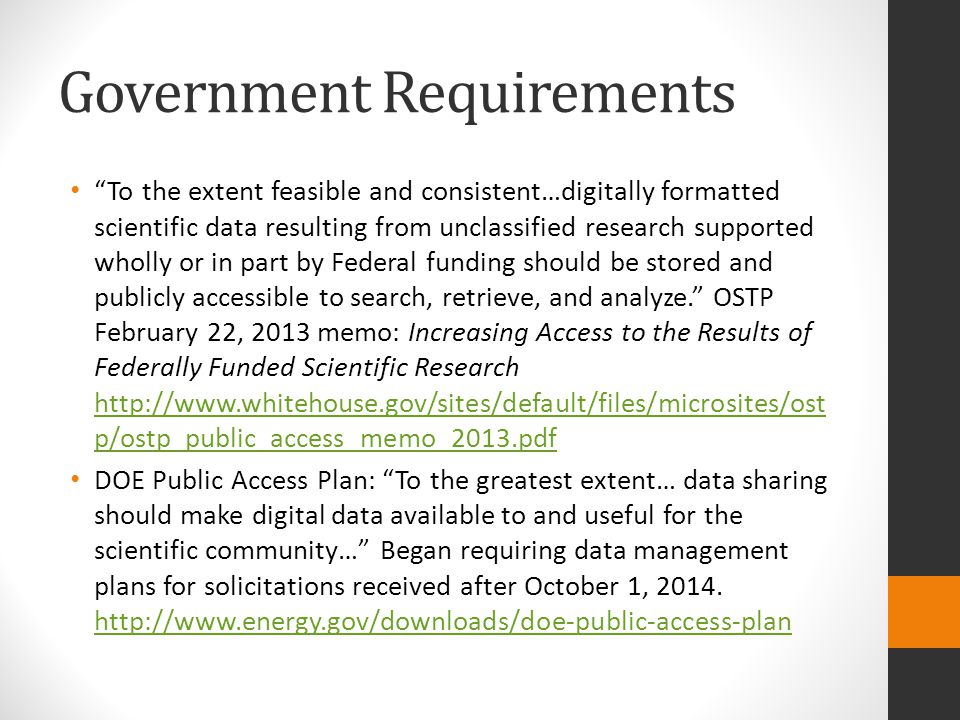 Government Requirements