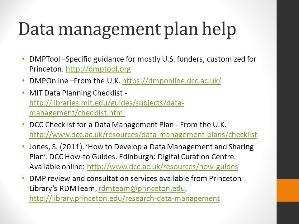Data management plan help