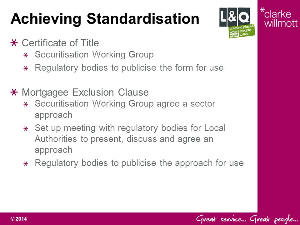 Achieving Standardisation