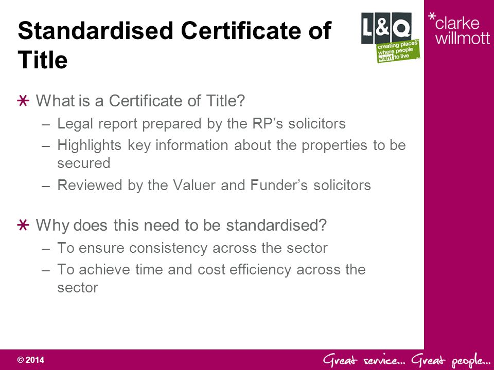 Standardised Certificate of Title