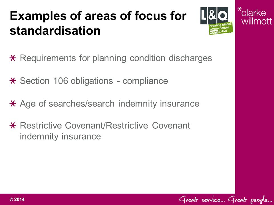 Examples of areas of focus for standardisation