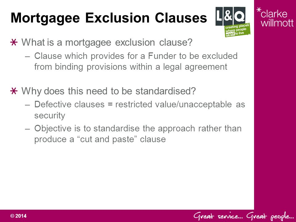 Mortgagee Exclusion Clauses