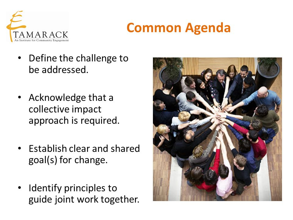 Common Agenda Define the challenge to be addressed.