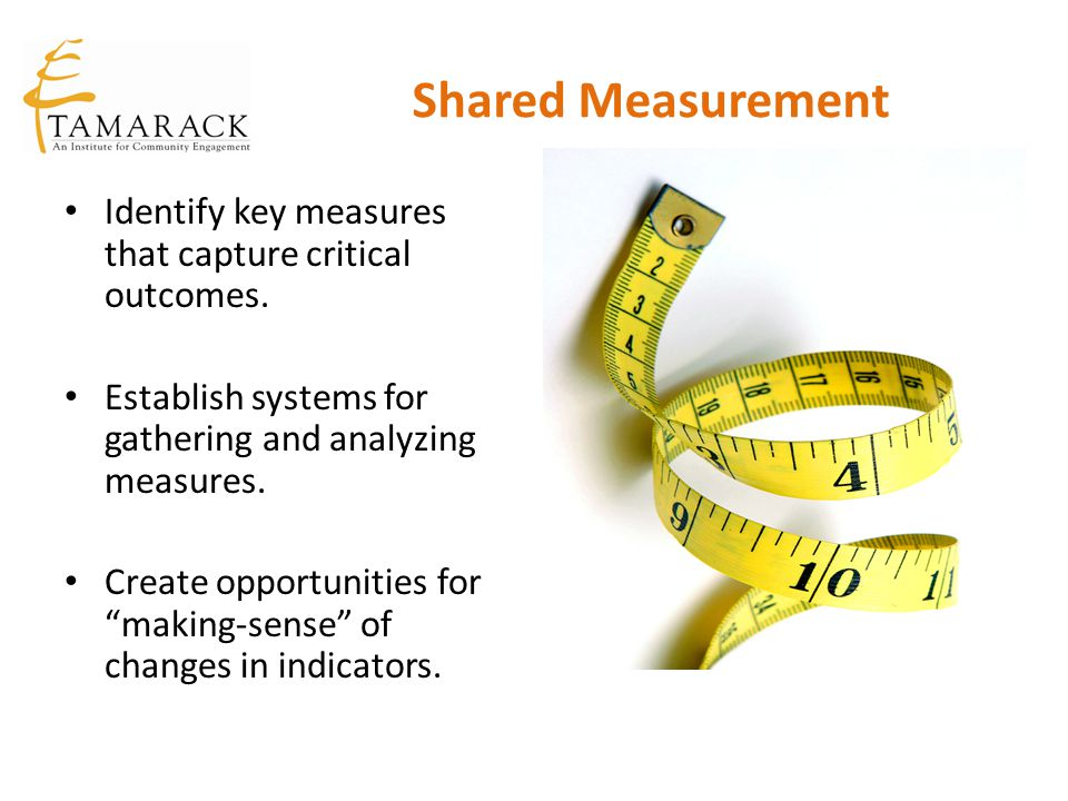 Shared Measurement Identify key measures that capture critical outcomes. Establish systems for gathering and analyzing measures.