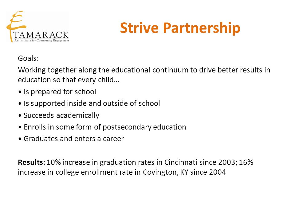 Strive Partnership Goals: